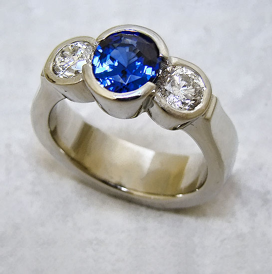 Sapphire and Diamond Wedding Band #178