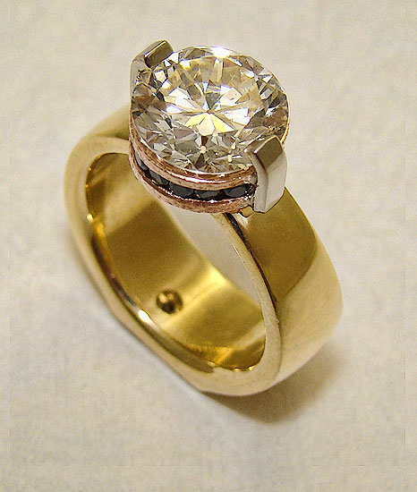 Diamond Ring Withe Rose Gold Blue Diamond Accent #181