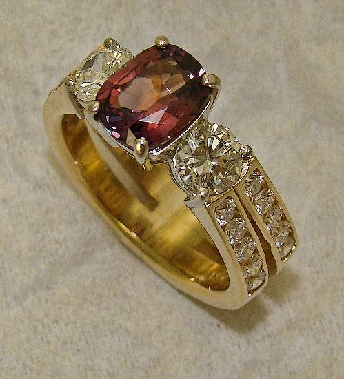 Berry Pink Sapphire & Diamond Ring #182