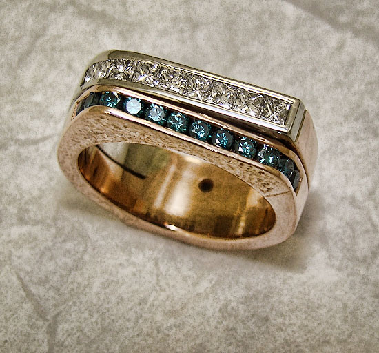 Blue and White Diamond in Rose / White Gold Band #185