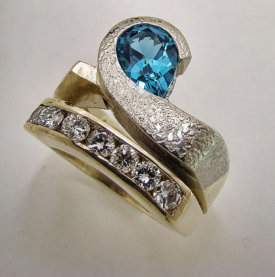 Blue Topaz & Diamond Ring #186