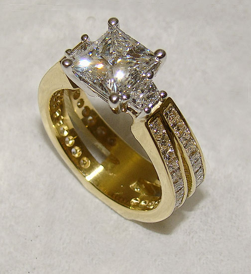 Princess Cut Diamond with Diamond Shank Ring #191