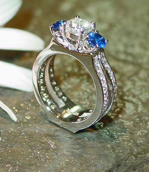Diamond Sapphire Ring with Diamond Shank #193
